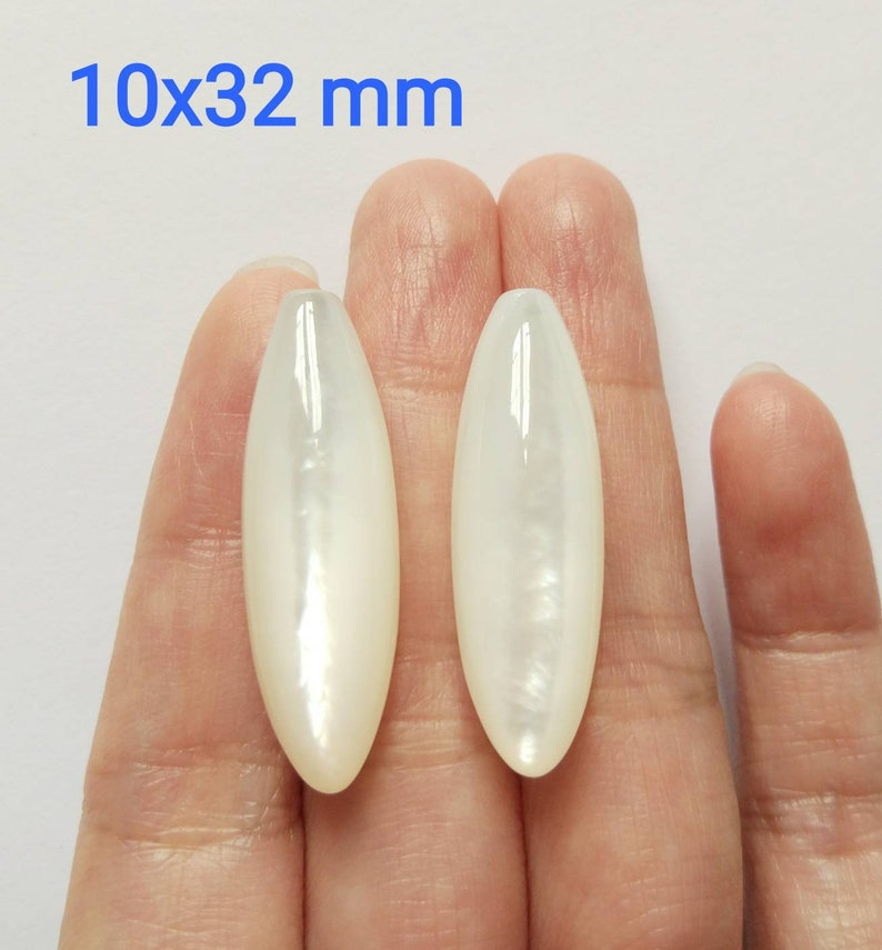 White Mother of Pearl MOP Smooth Half Drilled Berry Drops 10x32 mm One Pair F5513