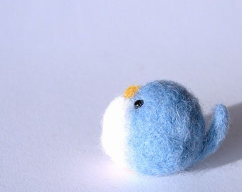 Felted bird, Needle felted blue bird, handmade wool bird