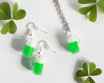 St. Patrick's day green beer necklace and earrings