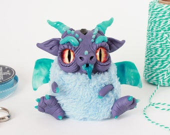 Spike the furry dragon - polymer clay plush fantasy creature figurine