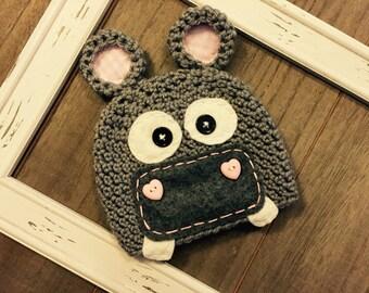 Hilga the hippo crochet hat, photo prop