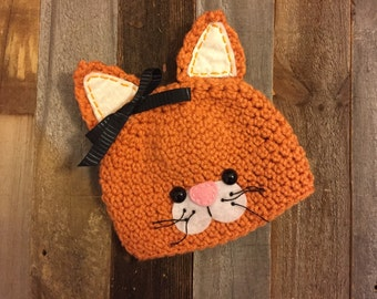 Tabby cat crochet hat, photo prop
