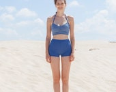 Denim Blue And White Heart Shape Top With Blue Shorts