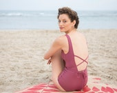 Blush Pink Textured Open Back One Piece Swimsuit