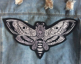 Mothic // Large Deaths Head Hawkmoth DIY Embroidered Iron Sew On Back Patch Gift Horror Craft Badge Aesthetic Punk Metal Applique Motif UK