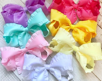 Gift set of 3 tiny hair bows coral aqua white newborn baby toddler double ruffle skinny elastic dainty Cici/'s boutique
