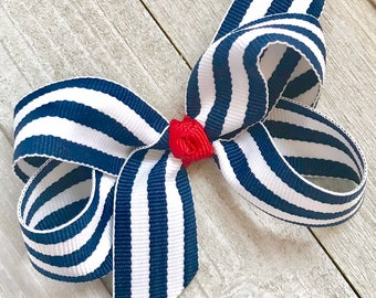 Girls' Accessories Kids' Clothes, Shoes & Accs. Symbol Of The Brand Handmade 4 Inch Hair Clip Bow Blue Red Green Stripes