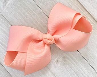 Lace hair accessory wedding hair clip peach hair bow Peach Lace hair bow Small and medium sizes felt hair bow