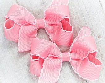 Baby Bow Striped Floral   B/&W Swiss Dots  Pink Hair Bow
