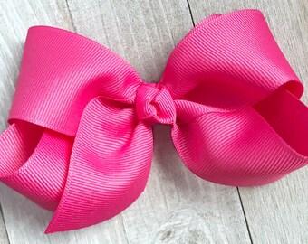 Hot Pink Satin Ribbon Bow Headband