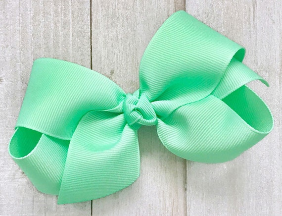 Mint Green Hair Bow~Hairbows for Girls~Toddler Hair Bow~Pastel Hair Bows~Solid Color Hair Bows~Hair Accessories for Girls~4 Hairbows~Bows
