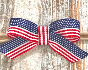 4th of July Baby Headband 4th of July Sailor Bow Headband Patriotic Bow Patriotic Baby Bow Nylon Headband Mini Baby Bow Itty Bitty Bow USA