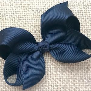 Small Loopy Bow Navy Blue Polka Dot Loopy Bow Loopy Hair Bow Bow for Headbands Pigtails 3 inch Bow Dark Blue School Uniform Bow