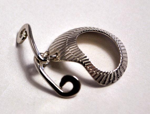 Fermoir en shell argent sterling toggle - shell en illusion japonais - fait main 8772ca