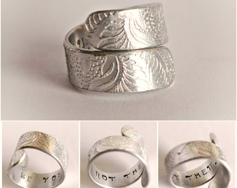 Bypass ring, Inspiring,handstamped ring, silver aluminium embossed jewellery, pattern jewellery, hidden message