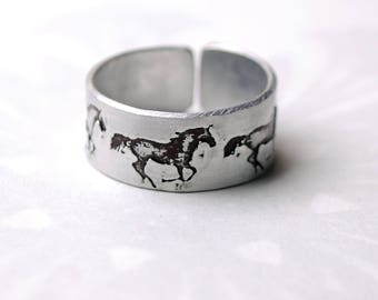 Horse ring, Kelpie ring, running horses, wild horse ring, equine jewelry, embossed fashion ring, artisan jewelry, nickel free ring,
