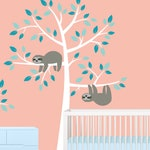 Sloth Tree Wall Decal - NEW DESIGN - Nursery Decor - Removable Wall Sticker