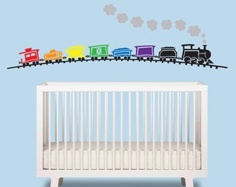 Train Baby Boy Wall Decal   Train Over 6 Ft Wide   Nursery Wall Decal    Train Wall Art
