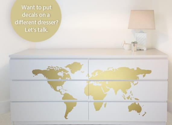 Map Dresser Makeover Dresser Decals designed to fit Ikea | Etsy