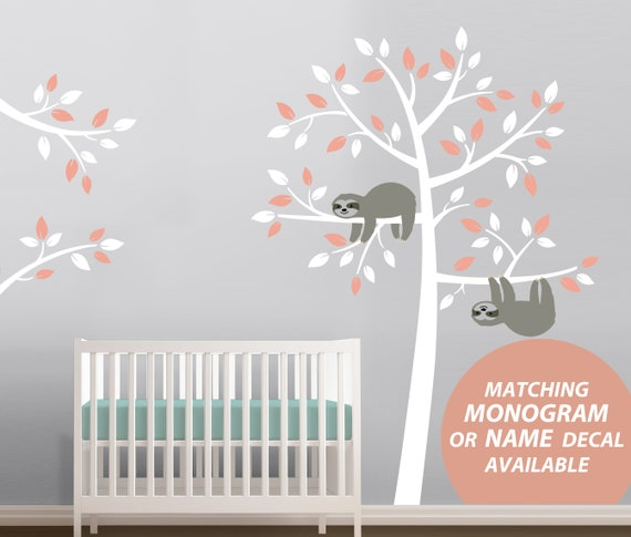 Nursery Decor Sloth Tree Wall Decal NEW DESIGN Removable Wall Sticker