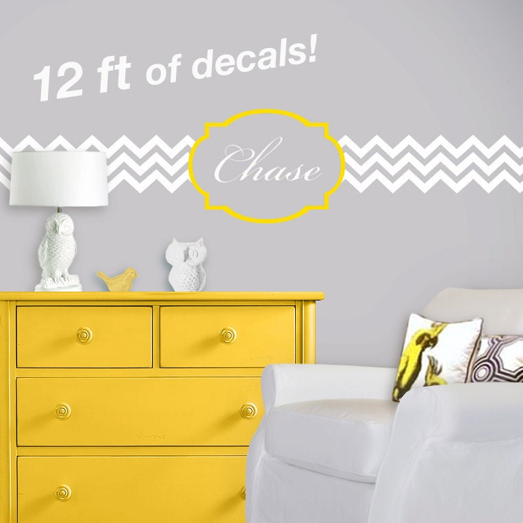 Chevron And Quatrefoil Nursery Wall Decal Personalized
