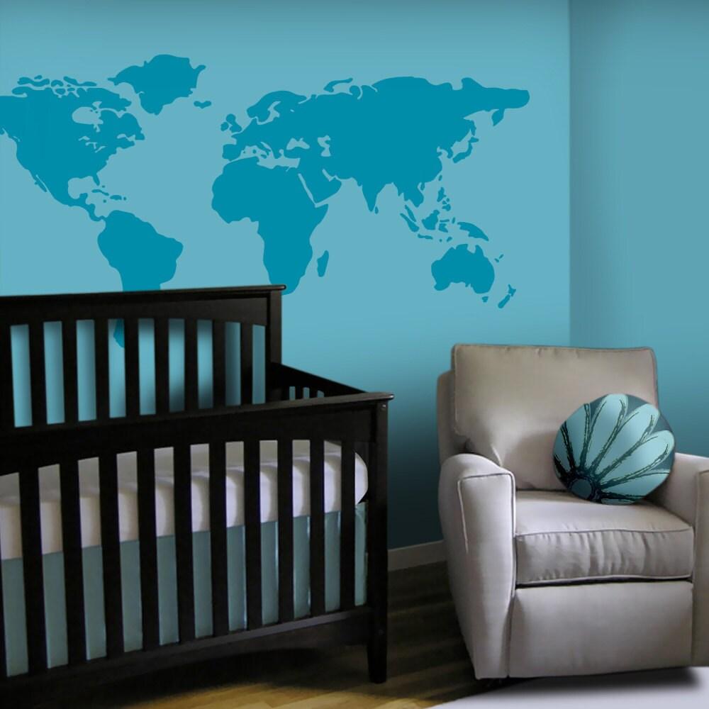 Baby Nursery Wall Decal Large World Map Nursery Wall Decal
