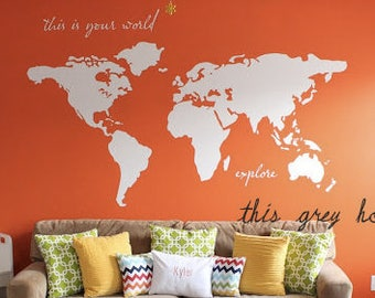 """World Map Wall Decal - 7 ft wide decal - """"this is your world - explore"""" - nursery decor - apartment therapy"""