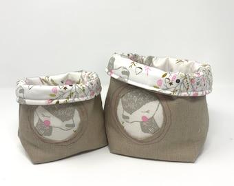 Fabric Storage Bin/Basket, Reversible - Winter Deer Print