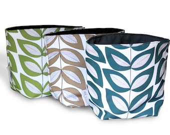 Reversible Fabric Storage Bucket -  Leaf Print