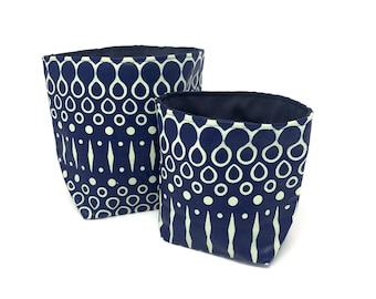 Reversible Fabric Storage Bucket - Blue Geometric Print