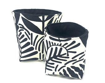 Reversible Fabric Storage Bucket - Black and White Leaf Print