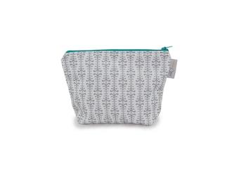 Zipper Pouch - Small Vine Print in Gray