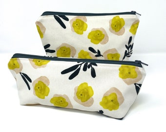 Zipper Pouch, Make-up and Toiletry Bag - Yellow and Gray Floral Print