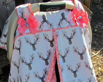 Buck Deer on White and Salmon Arrow Print Car Seat Canopy/Baby Carseat Cover/ Infant Carseat Canopy Cover