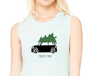 Merry MINI Muscle Tank, Mini Cooper Christmas T-shirt, Women's Muscle Tank, MINI Cooper Custom T-shirt, Workout Tank, MINI Cooper Gift