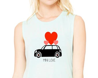 MINI Love Muscle Tank, Mini Cooper Love T-shirt, Women's Muscle Tank, MINI Cooper Custom T-shirt, Workout Tank, MINI Cooper Gift