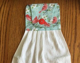 Hanging Kitchen Towel, Decorative Towel, Bird Print, Kitchen Towel, Linens,  Kitchen