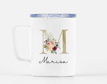 Personalized Travel Mug with Lid, Stainless Steel Mug, Monogram, Gratitude Gifts, Custom Coffee Travel Mug, Essential Worker Thank You Gift