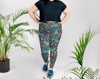0a5527b6354a4 Plus Size Leggings, Hummingbirds and Hibiscus, Bird Print, Botanical  Leggings, Tropical, Plus Size Workout, Runner Gifts, Yoga Pants