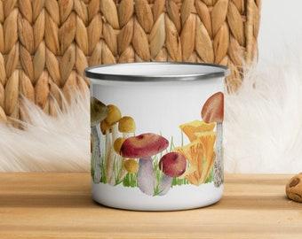 Mushroom Mug, Cottagecore Enamel Mug, Campfire Mug with Watercolor Mushrooms, Camping Gear, Cottagecore Decor