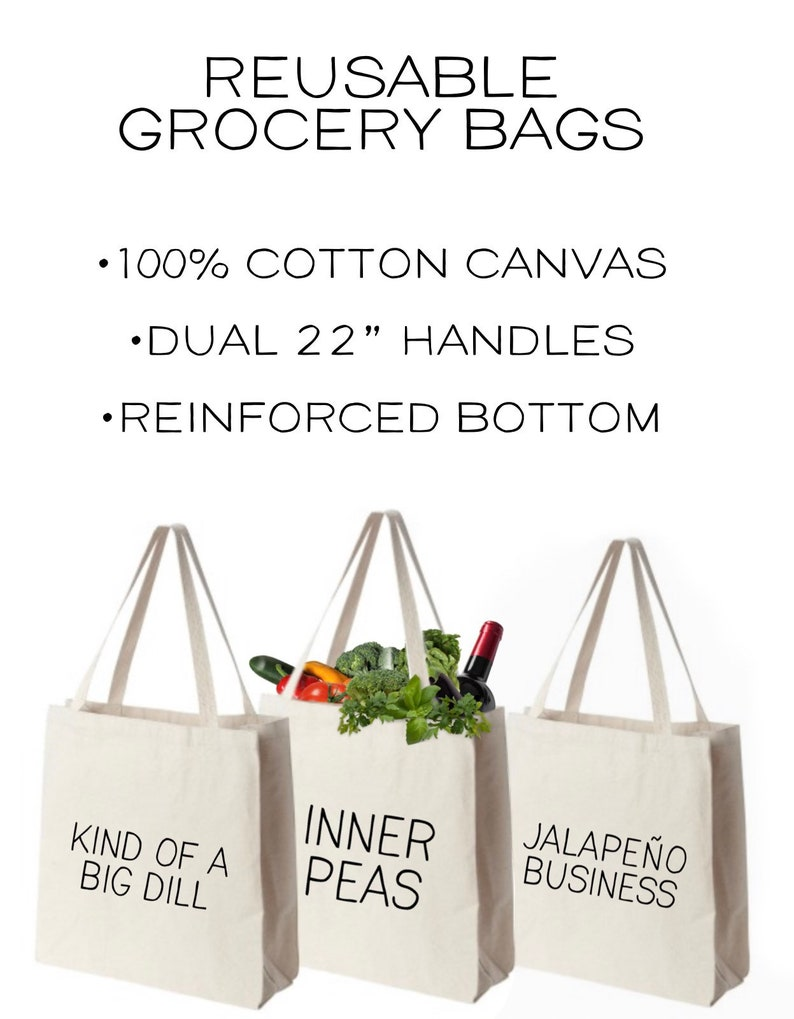 Washable Market Bags Cotton Tote Bag with Reinforced Gusett Gift for Foodie Canvas Grocery Bags with Food Puns Eco Friendly Gift Set
