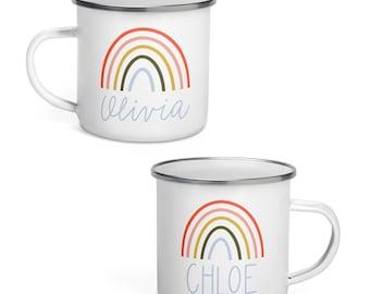 Personalized Kids Mug, Rainbow Campfire Mug, Custom Gift for Kids, Name Mug