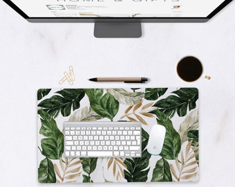 Extra Large Desk Mat, Personalized Cubicle Decor, Tropical Print, Extended Mouse Pad, Desk Pad, Tropical Desk Decor, Large Mouse Mat
