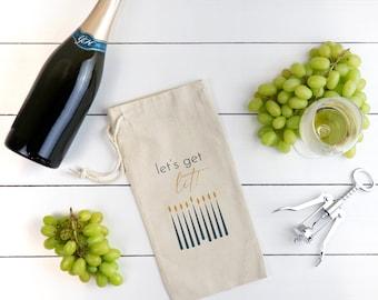 Let's Get Lit Hanukkah Wine Bag, Canvas Wine Bottle Bag, Hostess Gift, Reusable Wine Bottle Holder, Gift Bag, Wine Gift, Jewish Gifts