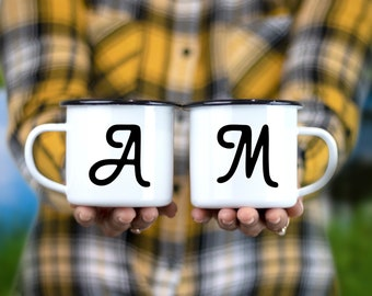 Set of 2 Personalized Camping Mugs with Initials   Monogram Enamel Campfire Mug, Engagement or Wedding Gift for Outdoorsy Couple