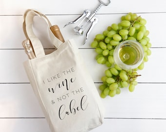 Canvas Wine Bag, I Like The Wine and Not The Label Wine Tote, Pan Pride, Bi Pride, LGBTQ, Gifts for Wine Lovers