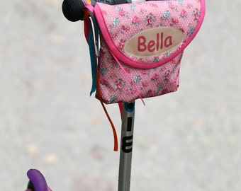 Personalised Vintage Rose Print Handlebar Bag, bike bag, scooter bag, handlebar bag by Suzielou textiles, waterproof, gift for child