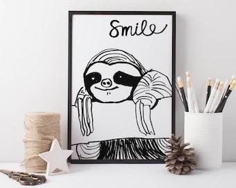 Sloth Wall Art Smile, black and white kids prints, positive quote prints, nursery prints, kids bedroom art, wall art for kids, sloth art