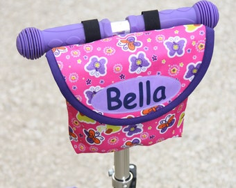 Personalised Child's Pink Butterfly Handlebar Bag