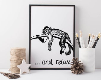 Monkey Wall Art Relax, black and white kids prints, positive quote prints, nursery prints, monkey art, animal wall art, monkey art print
